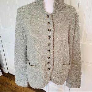 Sundance Fuzzy Button Down Wool Sweater Jacket L